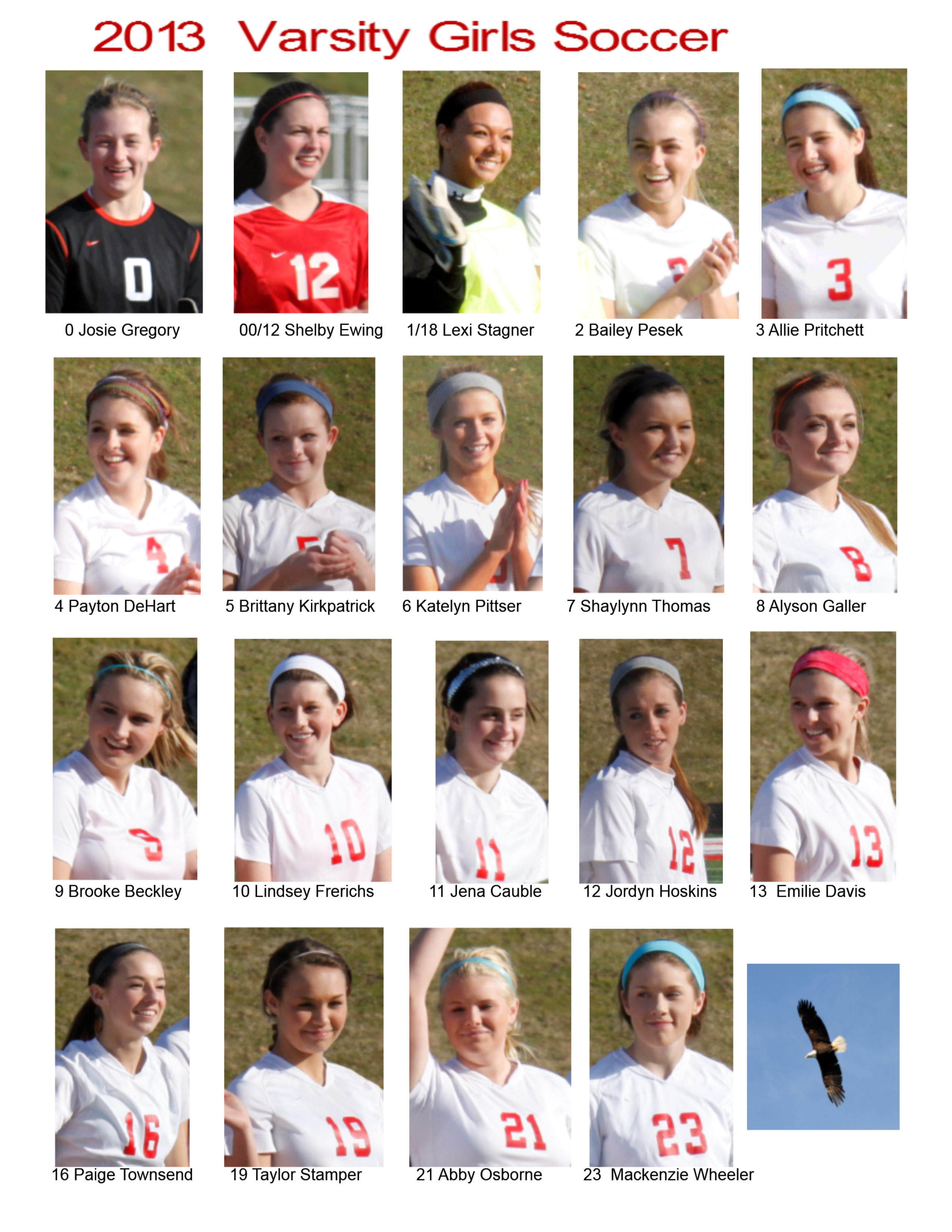 2013 Varsity Girls roster Picture